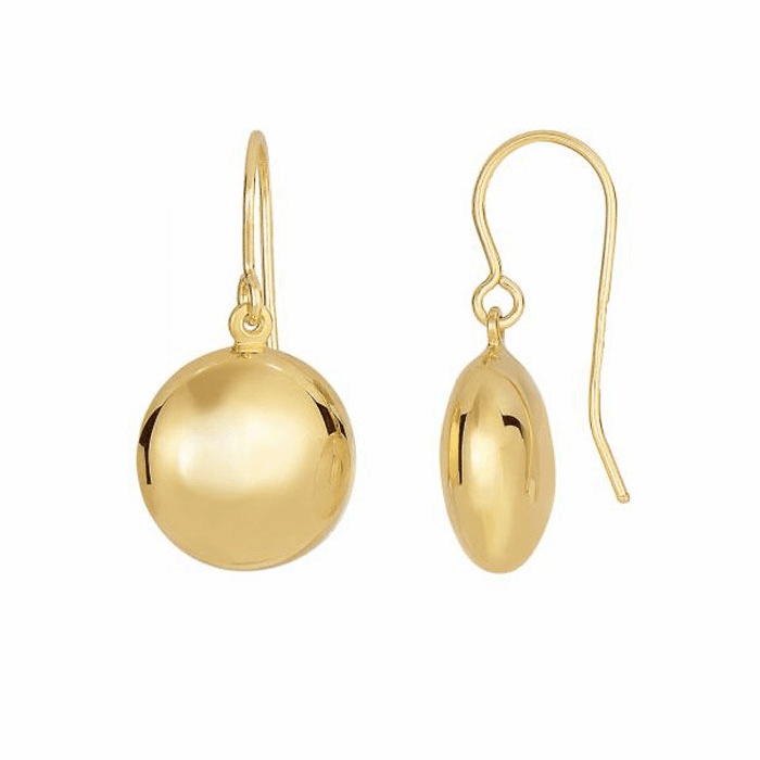 14Kt Yellow Gold One Side/One Diamond Cut Small Puff Circle Earring