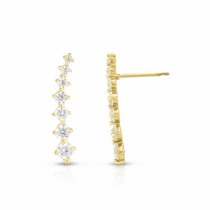 14kt Yellow Gold Round Clear CZ Polished Curved Climber Bar Earring