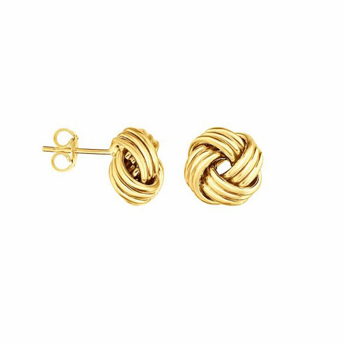 14kt Yellow Gold Round Love knot Earring with Push Back Clasp