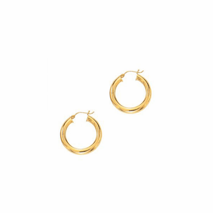 14Kt Yellow Gold Round Tube Shiny Hoop Earring with Hinged Clasp
