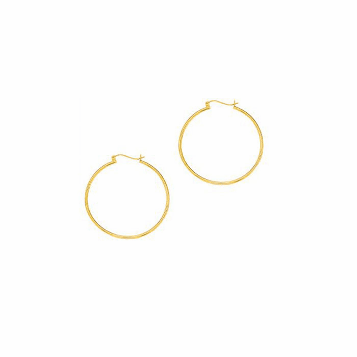 14Kt Yellow Gold Shiny 2.0X45mm Round Tube Hoop Earring