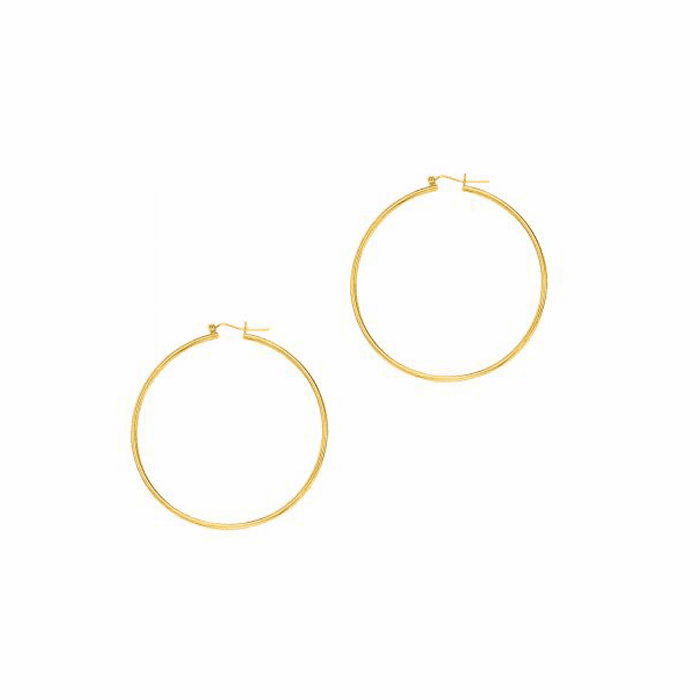 14Kt Yellow Gold Shiny 2.0X55mm Round Tube Hoop Earring