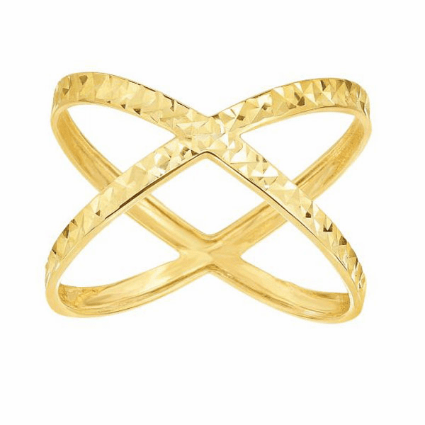 14kt Yellow Gold Shiny/Diamond Cut Fancy X-Shape Ring