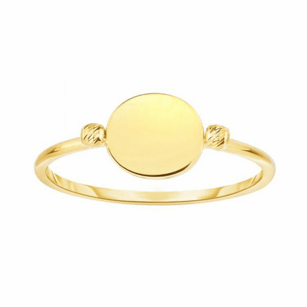14kt Yellow Gold Shiny Flat Bead Ring
