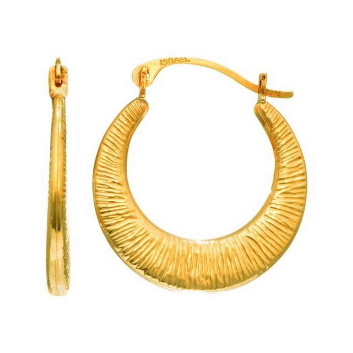 14Kt Yellow Gold Shiny Graduated Textured Hoop Earring