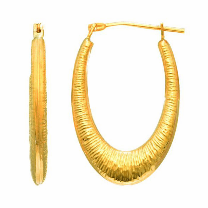 14Kt Yellow Gold Shiny Graduated Textured Oval Hoop Earring