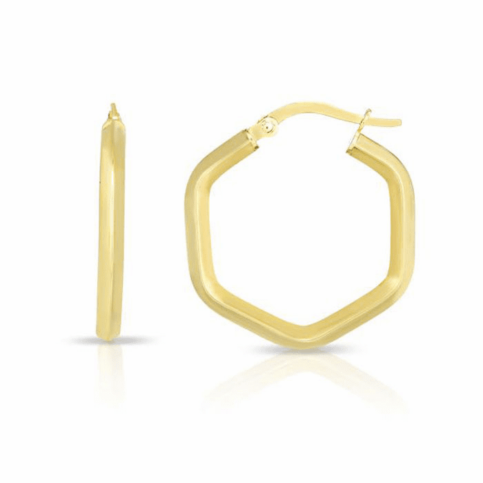 14kt Yellow Gold Shiny Hexagon Hoop Fancy Earring with Hinged Clasp