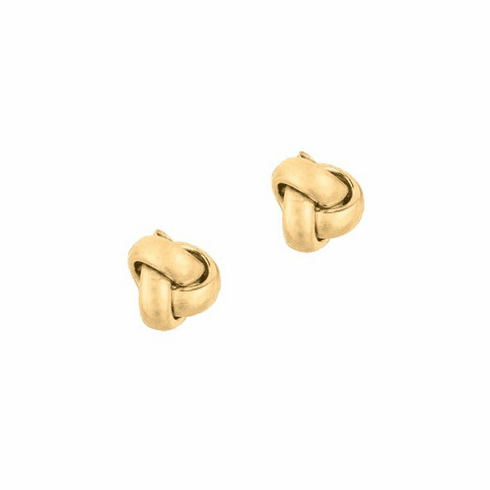14Kt Yellow Gold Shiny One Row Love Knot Post Earring