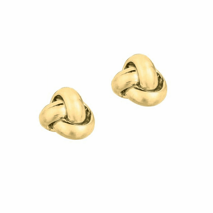 14Kt Yellow Gold Shiny One Row Love Knot Post Earring - ER1087