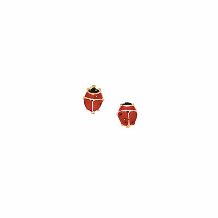 14Kt Yellow Gold Shiny Red / Black Ladybug Post Earring