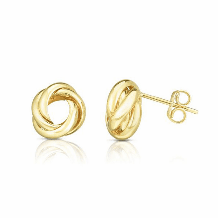 14kt Yellow Gold Shiny Round Post Loveknot Earring
