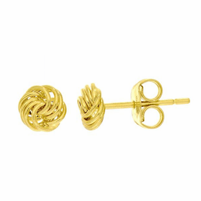 14Kt Yellow Gold Shiny Small Love Knot Post Earring