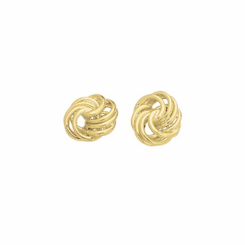 14Kt Yellow Gold Shiny Textured 4 Row Love Knot Earring
