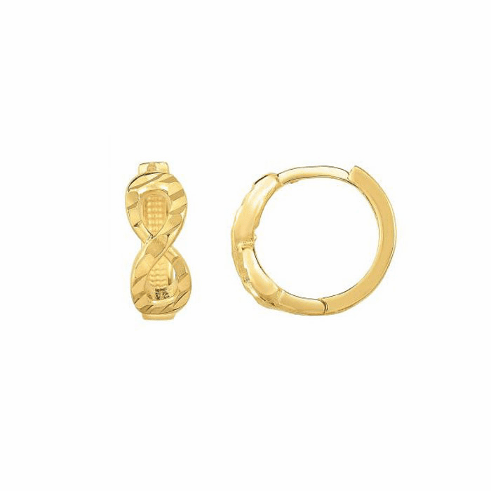 14kt Yellow Gold Shiny Twisted Round Tube Hoop Earring