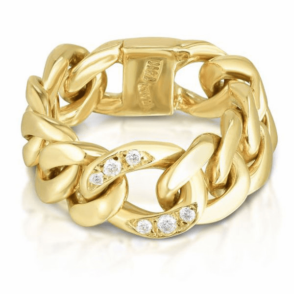 14kt Yellow Gold Size-7 Diamond Cut Link Ring with 1.3mm White Diamond