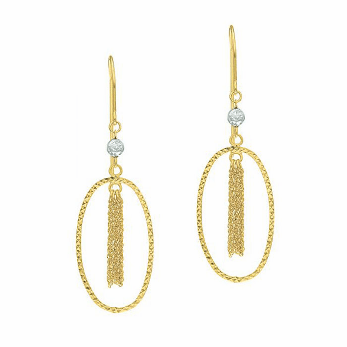 14Kt Yellow Gold Star Open Oval Drop Earring with Tassels Inside