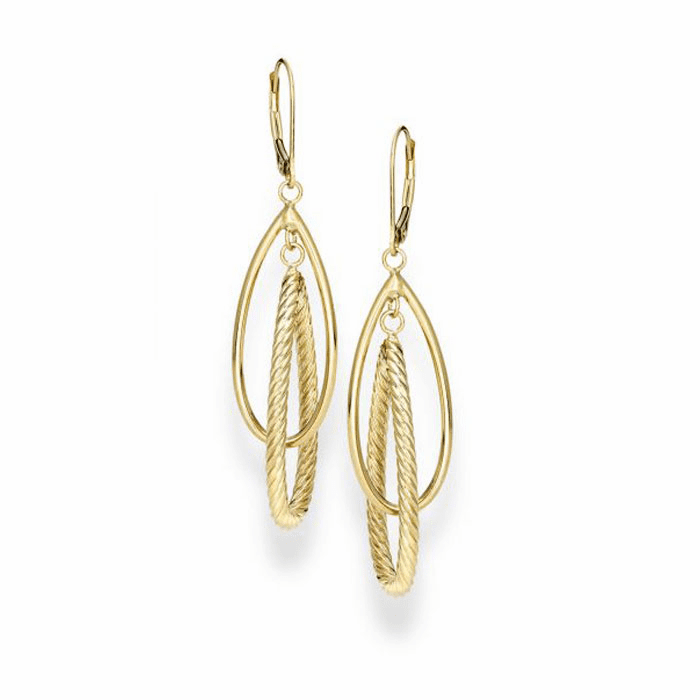 14kt Yellow Gold Tear Drop Drop Fancy Earring with Lever Back Clasp