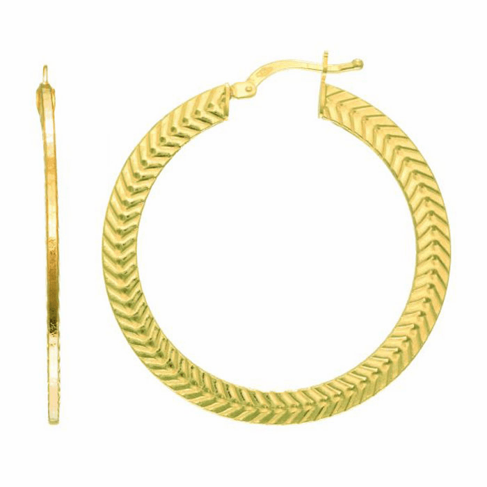 14Kt Yellow Gold Texture Flat Wheat Pattern Round Hoop Earring