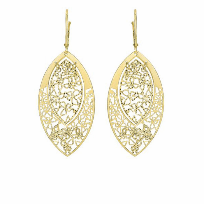 14Kt Yellow Gold Textured Cut Marquis Shape Leaverback Drop Earring