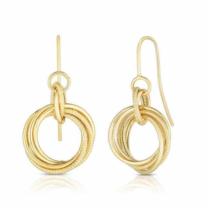 14kt Yellow Gold Textured Earring with Euro Wire Clasp