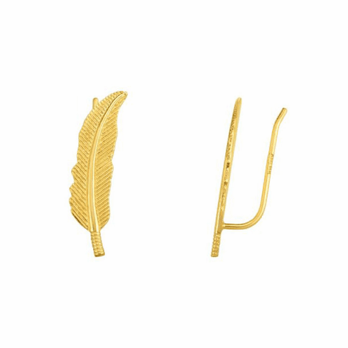 14kt Yellow Gold Textured Leaf Ear Climber Earring