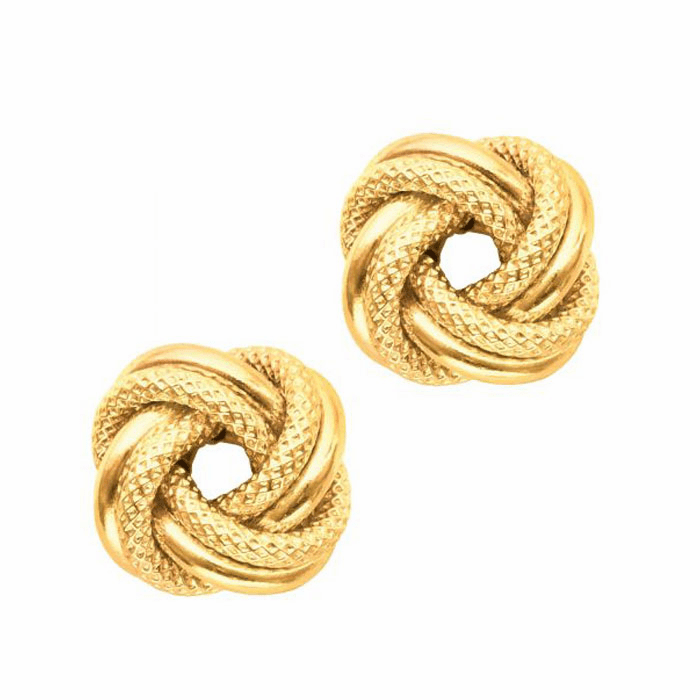 14Kt Yellow Gold Textured Shiny 2 Row Large Love Knot Earring