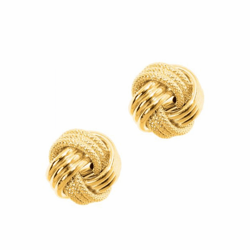 14Kt Yellow Gold Textured Shiny 3 Row Large Love Knot Earring