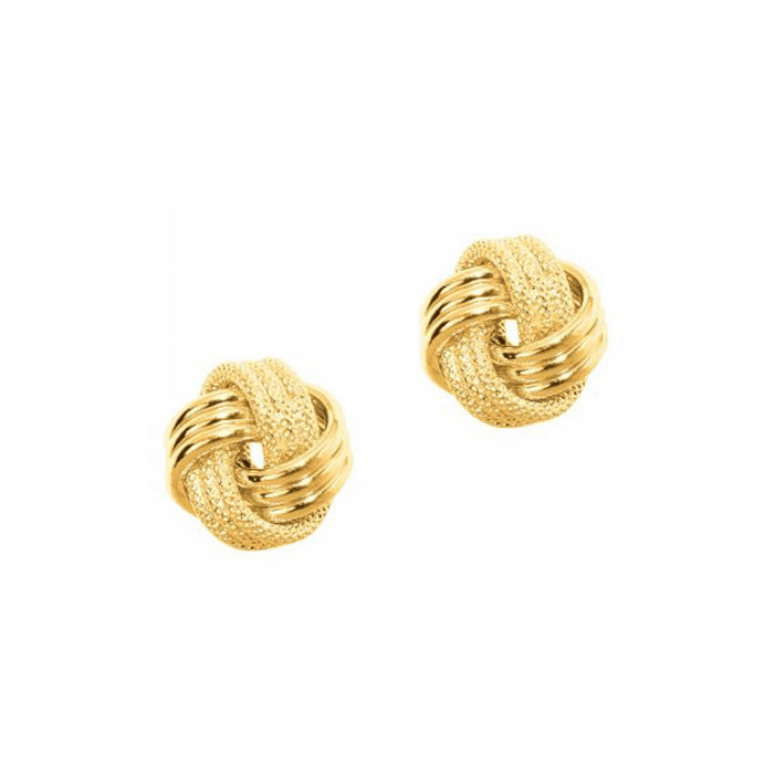 14Kt Yellow Gold Textured Shiny 3 Row Small Love Knot Earring