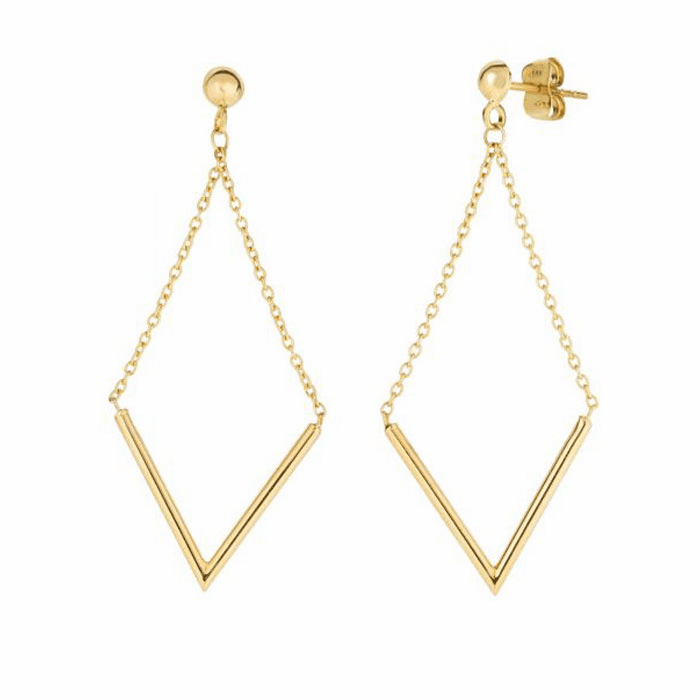 """14Kt Yellow Gold """"V"""" Shape Hanging On Cable Link Diamond Drop Earring"""