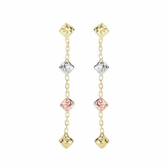 14Kt Yellow/Rose/White Gold Diamond Cut 3-Tri-Color Bead Drop Earring