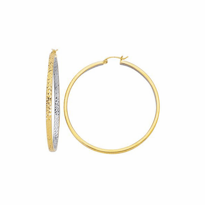 14Kt Yellow / White Diamond Cut Design Hoop Earring with Hinged Clasp