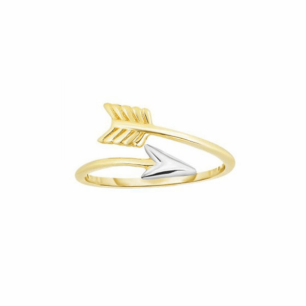 14kt Yellow/White Gold 1.2mm Shiny Bypass Type Arrow Ring w/White Tip