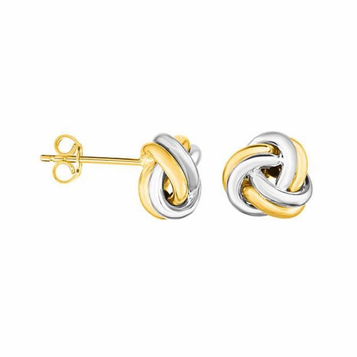 14Kt Yellow / White Gold 2 Row Round Tube Small Love Knot Earring