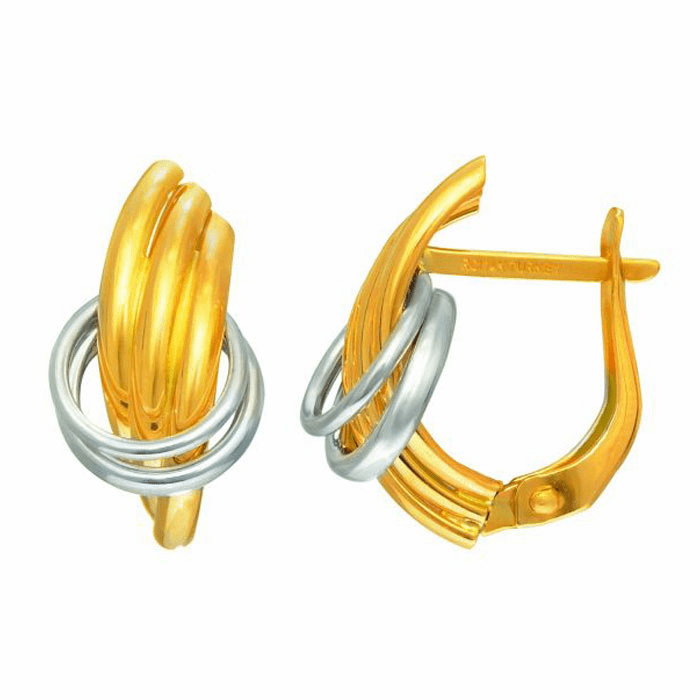 14Kt Yellow/White Gold 3-Row Fren Chback Earring Thru 2-White Ring