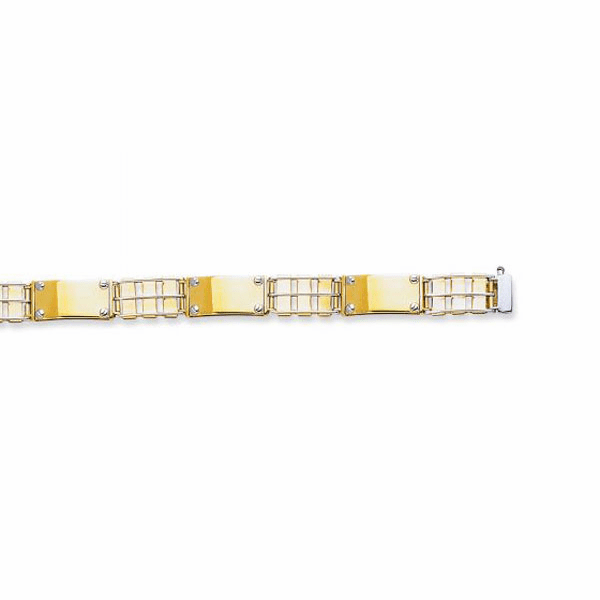 "14kt Yellow/White Gold 8.50"" Railroad Type/Nail Head Rolex Bracelet"