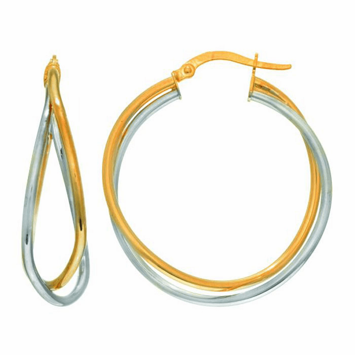 14Kt Yellow / White Gold Cris Cross Double Row Two Tone Hoop Earring