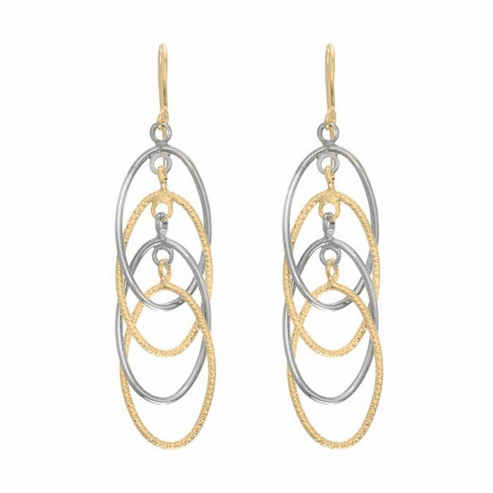 14Kt Yellow/White Gold Diamond Cut 4-Drop Open Oval Drop Earring
