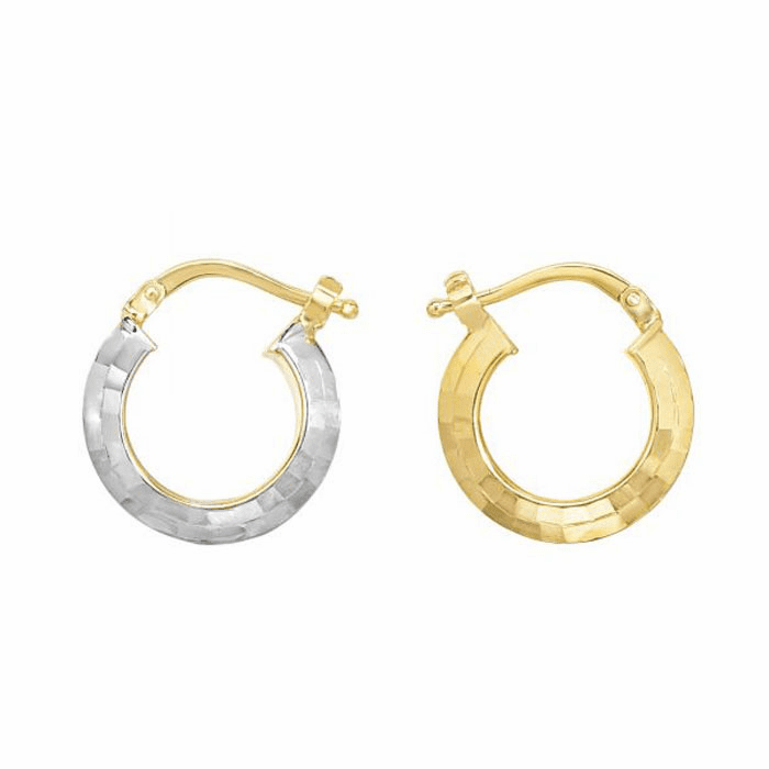 14Kt Yellow/White Gold Diamond Cut Fancy Round Tube Hoop Earring