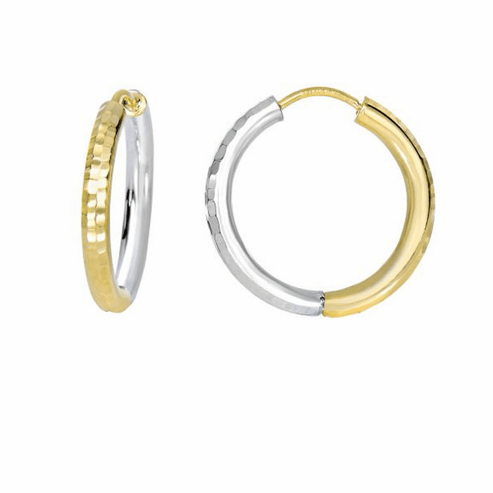 14Kt Yellow/White Gold Diamond Cut Half White/Half Yellow Hoop Earring
