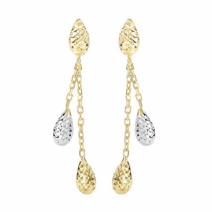 14Kt Yellow/White Gold Diamond Cut Puffed Teardrop Post Drop Earring