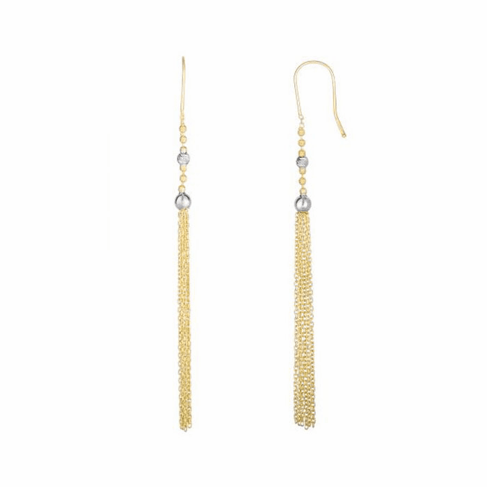 14Kt Yellow/White Gold Diamond Cut Round Bead Tassel Type Drop Earring