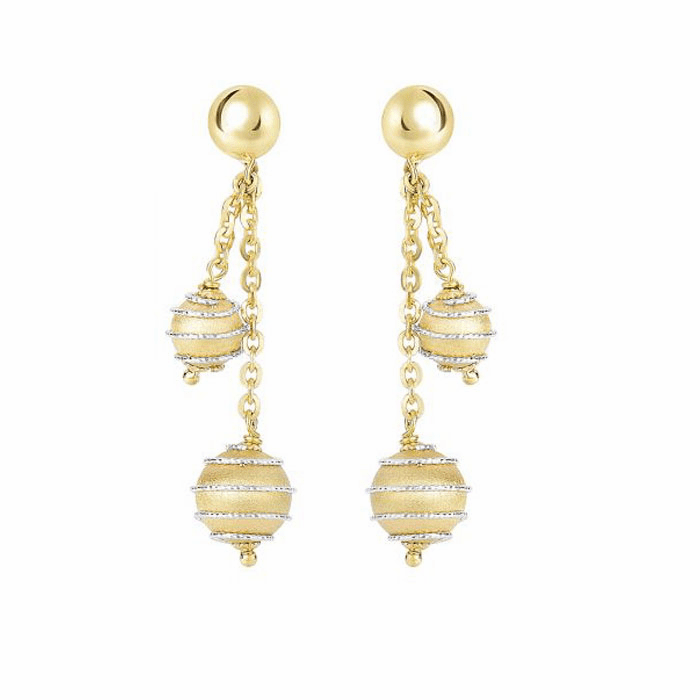 14Kt Yellow/White Gold Diamond Cut Swirl Hanging Ball Drop Earring