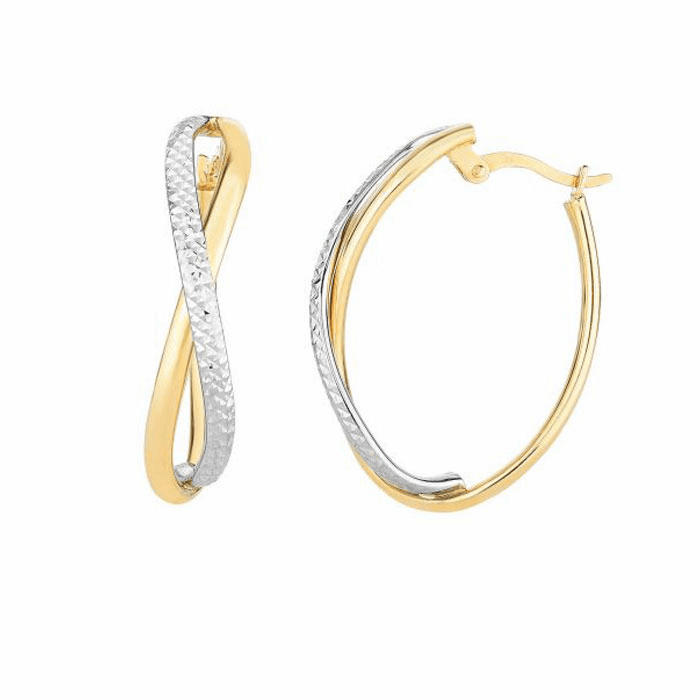 14Kt Yellow/White Gold Diamond Cut Two Tone Infinity Oval Hoop Earring