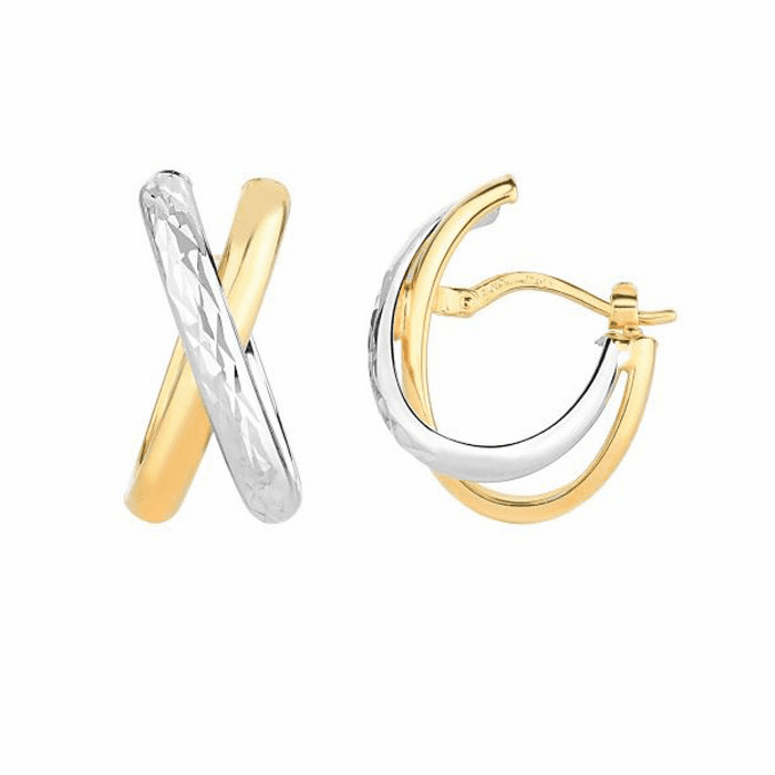 "14Kt Yellow/White Gold Diamond Cut ""X"" Tube Half Oval Hoop Earring"
