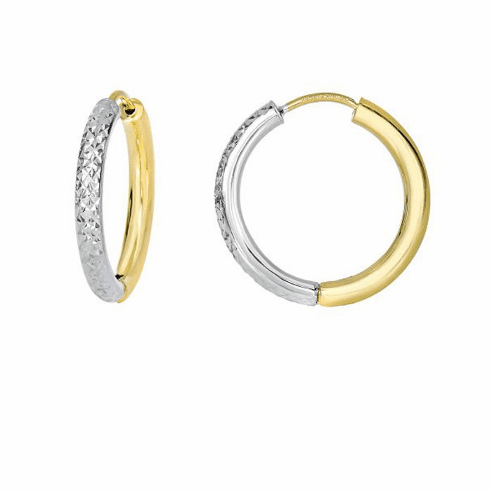 14Kt Yellow/White Gold Half Diamond Cut White/Half Yellow Hoop Earring