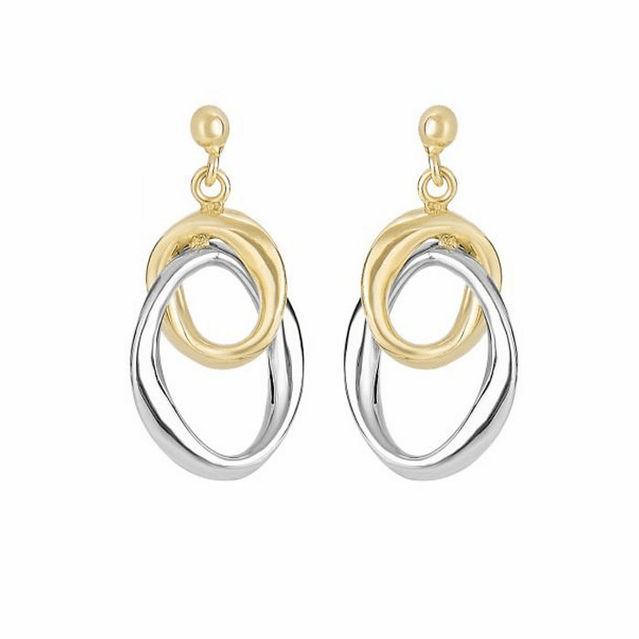 14Kt Yellow/White Gold Interconnected Open Oval Drop Earring