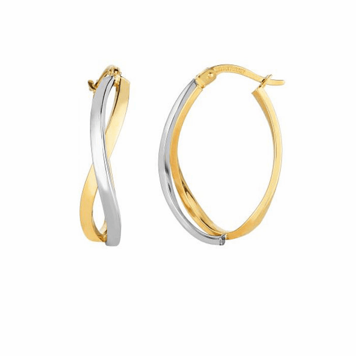 14Kt Yellow/White Gold Square Tube 2 Strand Criss Cross Hoop Earring