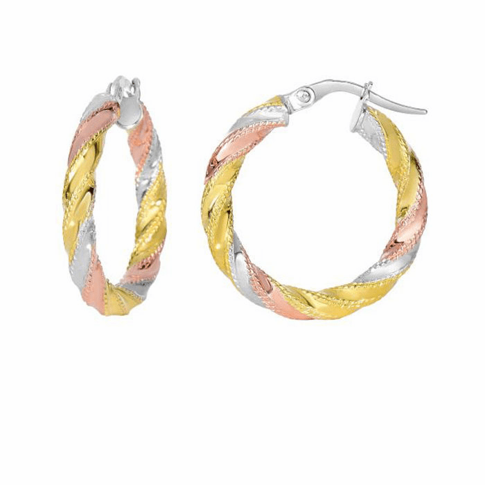 14Kt Yellow/White/Rose Gold Textured Twisted Round Hoop Earring