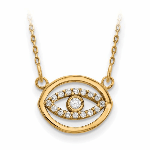 14ky Small Diamond Gold Halo Evil Eye Necklace Xp5038a