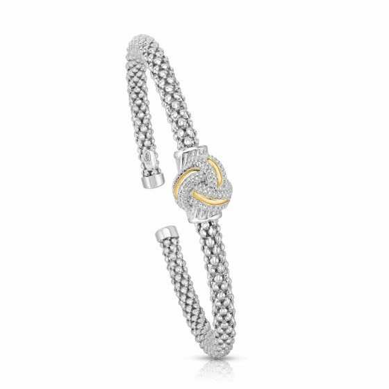 18k Gold and Sterling Silver Popcorn Cuff Love knot Bangle